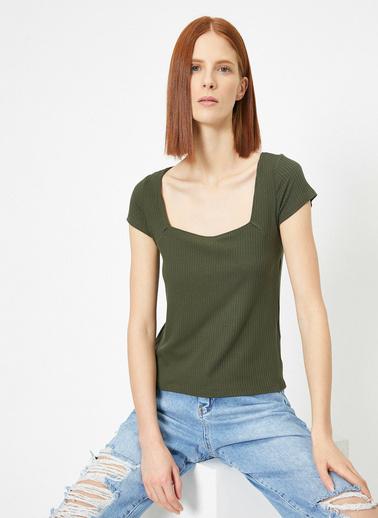 Koton Kare Yaka Dar Kesim T-Shirt Yeşil